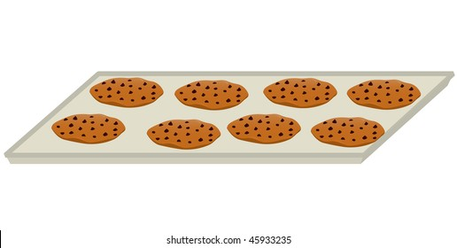 Chocolate chip cookie tray - vector version