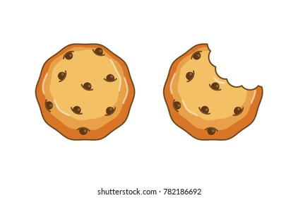 Chocolate chip cookie vector, Top View