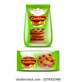 Chocolate chip cookies big and small packaging 3d realistic vector