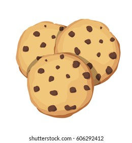 Chocolate Chip Cookies. Choco cookie icon. Vector illustration