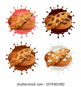 Chocolate chip cookies in milk and chocolate splashes 3d realistic vector set
