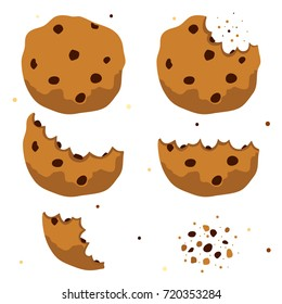 Chocolate chip cookies, whole and bitten, freshly baked choco cookies, isolated object, set, collection, vector.