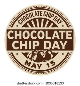 Chocolate Chip Day, May 15, rubber stamp, vector Illustration