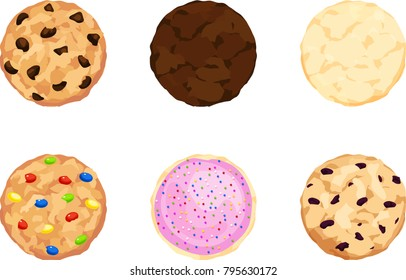 Chocolate chip, fudge, sugar, candy, frosting and sprinkles, and oatmeal cookies from a top angle view.