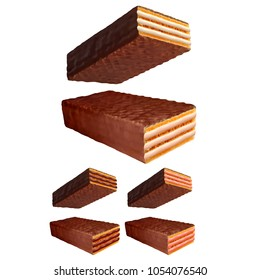 Chocolate coated wafer 3d photo realistic vector set