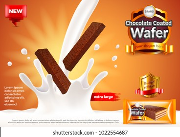 Chocolate coated wafer ads. Pouring milk. 3d illustration and packaging