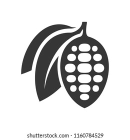 Chocolate Cocoa Beans Icon on White Background. Vector
