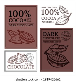 CHOCOLATE AND COCOA Design Of Stickers And Labels For Cocoa Chocolate Products In Vintage Style Monochrome Hand Drawn Clip Art Vector Illustration Set For Print