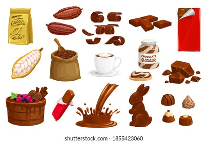Chocolate, cocoa vector choco production bars, bunny sweet dessert and splashes. Truffle, candies and hot beverage, beans in sack, retail package and cake with chips, paste isolated cartoon icons set