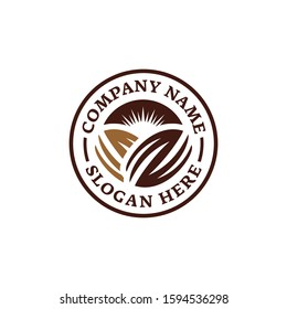 Chocolate coffee bean logo. Emblem logo design. Branding for cafes, cofeeshop, restaurants, beverages, eatery, products, etc. Isolated logo vector inspiration. Graphic designs