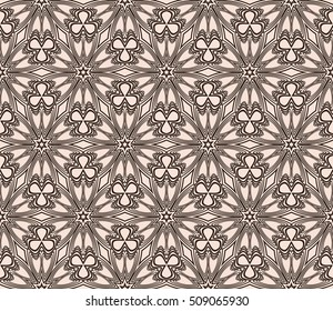 Chocolate color seamless floral pattern. Abstract flower. Vector illustration