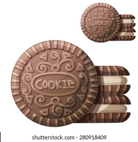 Chocolate cookie 2. Detailed vector icon isolated on white background. Series of food and ingredients for cooking.