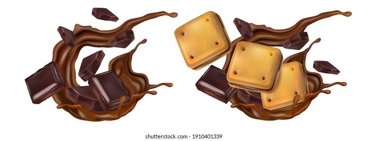 Chocolate cookies with chocolate splashing in the middle isolated on solid color background. Vector realistic in 3d illustration.