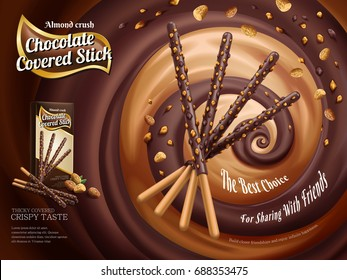 Chocolate covered stick ads, chocolate stick with almond crush isolated on swirling rich sauce in 3d illustration