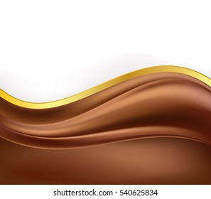 chocolate creamy background and golden border. vector illustration