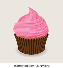 Chocolate cupcake with a pink frosting in flat design, in vector