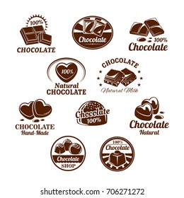 Chocolate desserts and choco candy bars icons. Vector isolated set of chocolate splash fondant and comfits with nuts and raisins for confectionery and sweet product labels or package design templates