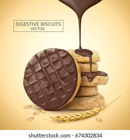 Chocolate digestive biscuits element, chocolate sauce dripping from top with its ingredients, 3d illustration
