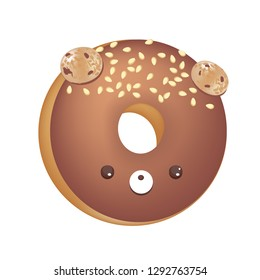 Chocolate Donut Font Concept. Delicious Letter O. Vector illustration isolated on white background