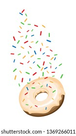 Chocolate donut with vanilla icing and flowing topping. Isolated object on a transparent background.