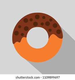 chocolate donuts dessert flat design with long shadow