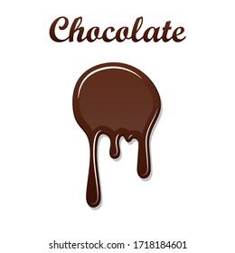 Chocolate drip splash. Chocolate liquid blot isolated white background. Shape melt dessert spot. 3D realistic design stain element. Food decoration. Milk, dark chocolate splashing Vector illustration