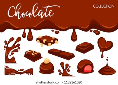 Chocolate dripping splash drops and confectionery desserts of truffle candy bars and confections.
