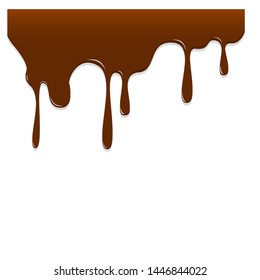chocolate dripping, vector illustration isolated on white background