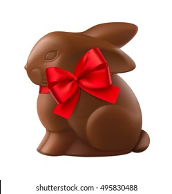 Chocolate easter bunny isolated on white background. Vector illustration.