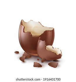 Chocolate egg, child's surprise for Easter and holidays, broken.