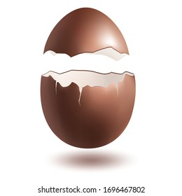 Chocolate egg explosion. Easter egg template design isolated on white background. Premium quality vector illustration.