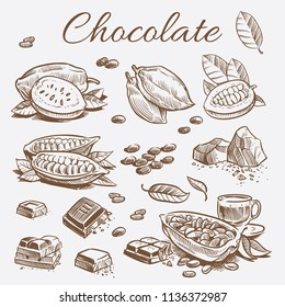 Chocolate elements collection. Hand drawing cocoa beans of set and chocolate bars and leaves. Vector illustration