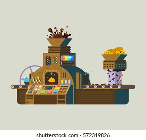 Chocolate Factory vector iilustration. Print of creative chocolate food preparation, made from roasted and ground cacao seeds. Smart sweets Processing Machine