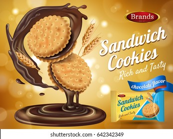 chocolate flavor sandwich cookie ad with packaging and wheat elements, 3d illustration