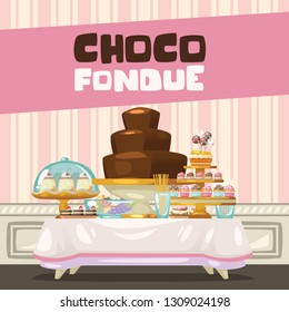 Chocolate Fondue with gold cake rack, cupcakes, pudding, donuts,  biscuits, and many other sweets.