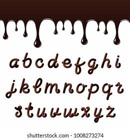 Chocolate font with latin letters. Melted chocolate alphabet with liquid letters. Vector