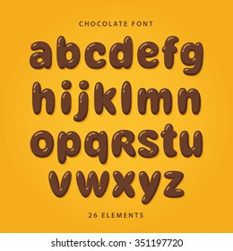 Chocolate font. Lowercase letters with glint