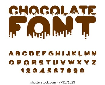 Chocolate font. sweetness alphabet. Liquid lettering. Sweet viscous ABC sign
