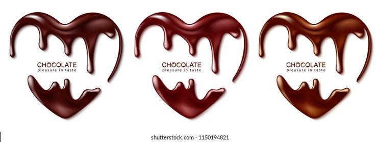 Chocolate in the form of heart. Melted chocolate syrup on white background. Liquid chocolate on a white background.Vector illustration.