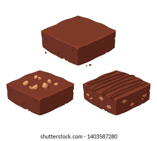 Chocolate fudge brownie isometric piece set. Traditional, with nuts and cocoa frosting. Classic chocolate dessert vector clip art illustration.