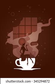 Chocolate girl silhouette - Vector illustration