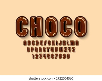 Chocolate glossy font, brown alphabet in the cartoon style, rounded letters from A to Z and numbers from 0 to 9 for you designs: logo, t shirt, card, poster, vector illustration 10EPS