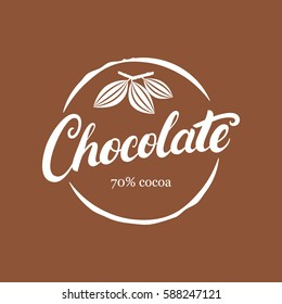 Chocolate handwritten lettering logo, emblem, badge or label with cocoa bean. Modern brush calligraphy. Vintage retro style. Isolated on background. Vector illustration.