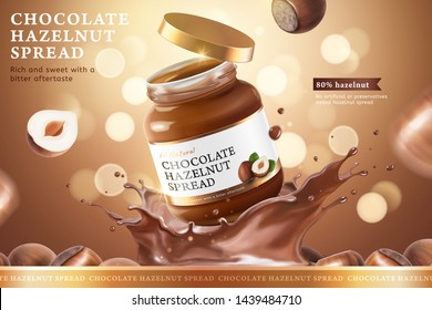Chocolate hazelnut spread ads with splashing liquid on bokeh glitter brown background in 3d illustration