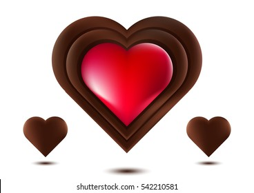 Chocolate Heart, Red Chocolate Heart, Isolated On White Background, Vector Illustration