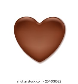 Chocolate heart shaped blot. Sweet background. Love symbol.