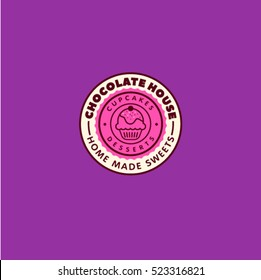 Chocolate house logo. Cupcakes and desserts emblem. Cafe label. Letters in a circle on a purple backgroun
