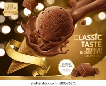 Chocolate ice cream cone ads, pouring chocolate toppings with golden ribbons and labels isolated on bokeh background in 3d illustration