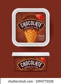 Chocolate ice cream vector. Package design.