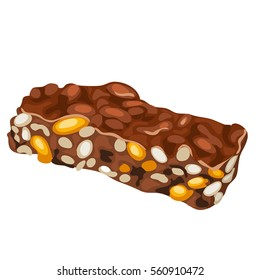 Chocolate kozinaki of sesame, sunflower seeds and peanut isolated on white background. Natural sweetness from the nuts in chocolate glaze. Vector illustration close-up.